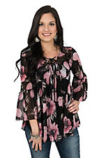 Berry N Cream Women's Black w/ Pink Floral Sheer Peasant Fashion Shirt