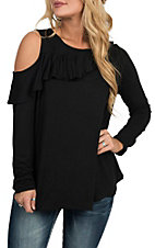 Berry N Cream Women's Black Cold Shoulder Ruffled Fashion Shirt