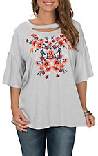 Peach Love Women's Light Grey with Floral Embroidered Bell Sleeve Casual Knit Shirt