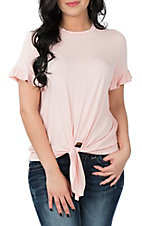 Peach Love Blush Tie Front Casual Knit Shirt