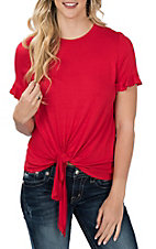 Peach Love Red Tie Front Casual Knit Shirt