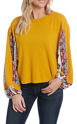 Berry N Cream Women's Mustard Southwestern Print Thermal Long Sleeve Fashion Top