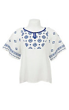 Flying Tomato Girl's White with Blue Embroidery Short Sleeve Top