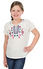 Flying Tomato Girl's White with Floral Embroidery Short Sleeve Shirt