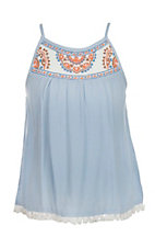 Flying Tomato Girl's Baby Blue Embroidered Yoke Spaghetti Strap Shirt