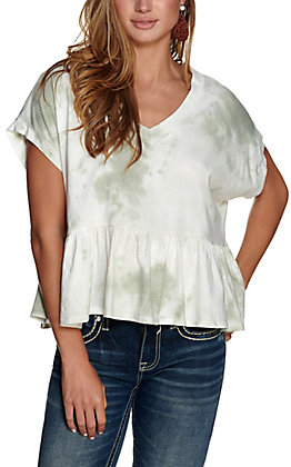 Berry N Cream Women's White and Olive Tie Dye Ruffle V-Neck Short Sleeve Cropped Tee