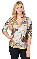 Karlie Women's Multicolor Paisley Print V-Neck 3/4 Tab Sleeve Fashion Top