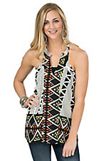 Karlie Women's Black Tribal Border Halter T-Back Sleevless Top