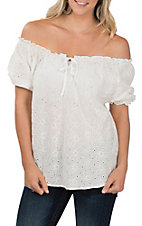 Cowgirl Legend Women's White Eyelet Cap Sleeve Fashion Top