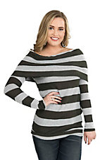 Peach Love Women's Olive and Light Grey Striped Long Sleeve Sweater