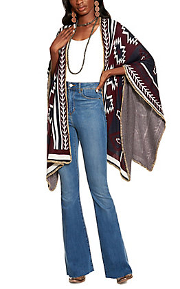 Cowgirl Legend Women's Burgundy and Navy Open Poncho