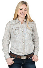 Wired Heart Women's Blue Mini Floral Long Sleeve Western Snap Shirt
