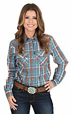 Wired Heart Women's Blue, Red, and Brown Plaid with Gold Lurex Long Sleeve Western Shirt