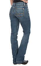 Silver Jeans Women's Elyse Mid Rise Curvy Slim Boot Cut Jeans