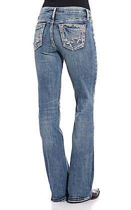 Silver Women's Elyse Embroidered Boot Cut Jeans