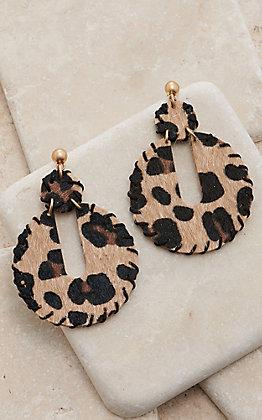 Amber's Allie Leopard Circle Dangle Earrings