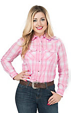 Wired Heart Women's Pink with Purple Lurex Plaid Long Sleeve Western Shirt