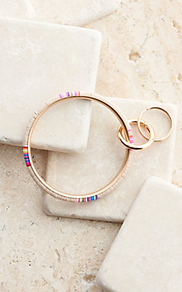Wear NE Wear Gold with Beige and Multi-Colored Beaded Bangle Keychain