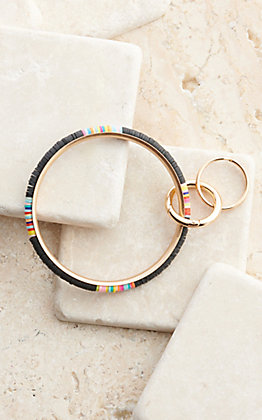 Wear NE Wear Gold with Black and Multi-Colored Beaded Bangle Keychain