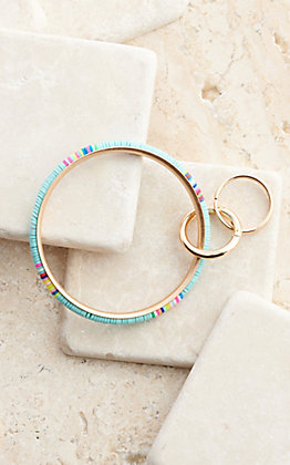 Wear NE Wear Gold with Turquoise and Multi-Colored Beaded Bangle Keychain