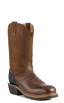 Lucchese Frontier Mocha Brown Slip Resistant Square Toe Western Work Boots
