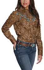 Wired Heart Women's Animal Print with Turquoise Stitch Retro Western Shirt