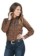 Wired Heart Women's Brown Zebra with Turquoise Embroidery Long Sleeve Retro Snap Shirt