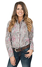Wired Heart Women's Pink and Grey Paisley Print Long Sleeve Western Snap Shirt