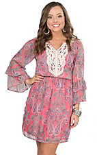 Wired Heart Women's Pink Paisley Pattern Dress with Crochet Detailing 3/4 Ruffle Sleeve Dress