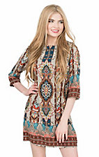 Renee C. Women's Brown, Teal, and Cream Exotic Print 3/4 Sleeve Shift Dress