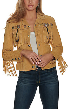 Scully Women's Old Rust Tan with Beads and Fringe Long Sleeve Suede Jacket