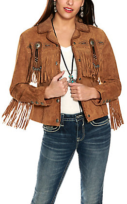 Scully Women's Cinnamon Brown with Beads and Fringe Long Sleeve Suede Jacket