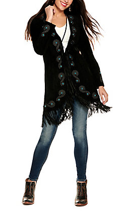 Scully Women's Black with Scroll Embroidery and Turquoise Stones Fringe Long Sleeve Leather Jacket