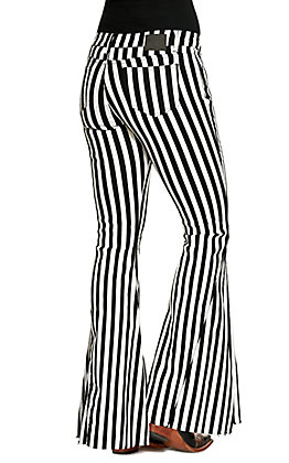 Lucky & Blessed Women's Black with White Stripes Wide Flare Jeans