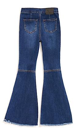 Lucky & Blessed Girl's Frayed Hem Flare Jeans