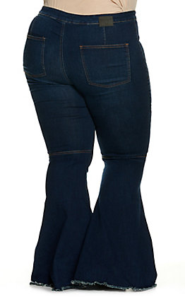 Lucky & Blessed Women's Dark Wash Frayed Flare Leg Jeans - Plus Size