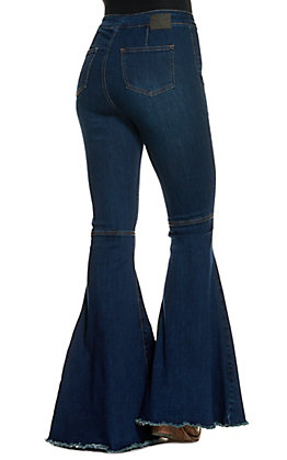 Lucky & Blessed Women's Dark Wash Frayed Flare Leg Jeans