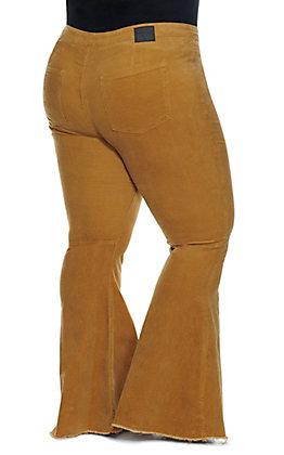 Lucky & Blessed Women's Mustard Raw Hem Flare Leg Corduroy Pants - Plus Size