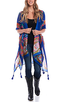 Love Mae Women's Royal Blue Multi Print Kimono