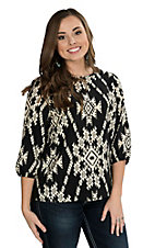 Renee C. Women's Black and Cream Aztec Print 3/4 Sleeve Fashion Top