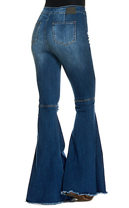 Lucky & Blessed Women's Dark Wash Distressed Frayed Flare Leg Jeans