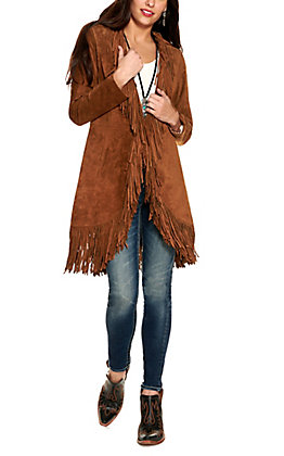 Scully Women's Cinnamon Brown with Fringe Long Sleeve Duster Leather Jacket