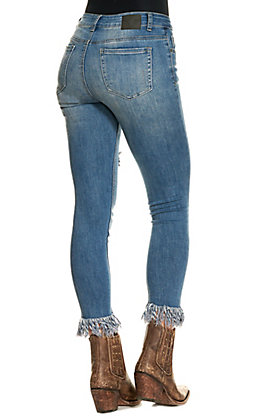 Lucky & Blessed Women's Medium Wash Frayed Ankle Skinny Jeans