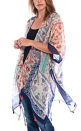 09 Apparel Women's Cream Multi Paisley Print Kimono