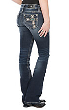 Miss Me Women's Dark Wash Scallop Cross with Turquoise Pocket Boot Cut Jeans