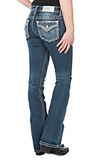 Miss Me Women's Medium Wash Diamond & Sequin Edge Open Flap Pocket Boot Cut Jeans