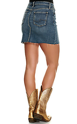 Silver Jeans Women's Francy Medium Wash Mid Rise Distressed Skirt