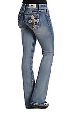 Miss Me Women's Crossing Over Boot Cut Jeans