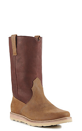 Lucchese Brown Suede Pull On Range Round Toe Western Boot