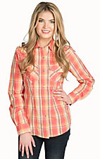 Wired Heart Women's Coral Plaid Western Shirt